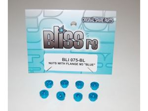 Immagine di BlissRC - Dado autobloccante M3 Flangiato Blu (Pz.8)